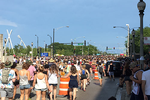 Line to get back in to Lollapalooza